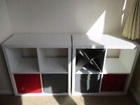 x2 white IKEA shelving units + wine rack + 4 boxes - LIKE NEW