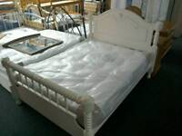 Chunky king-size white Bed ,#33300 £225 New king-size pocket sprung mattress #30865 £200