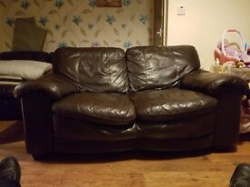 2 chocolate brown 2 seater sofas