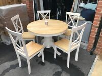 Oak Round Extending Table with 5 Chairs White