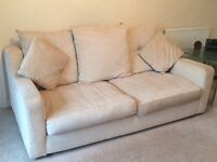 Two seater & three seater sofas with matching foot stool