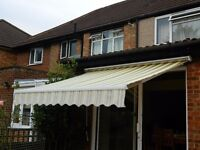 GARDEN AWNING 3 METERS WIDE YELLOW/GREY MANUAL