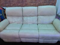 Cream leather electric recliner sofa