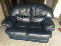 BLUE LEATHER 2 SEATER SOFA,CAN DELIVER