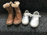 TU girls size 7 boots and silver sparkle shoes