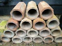 Hexagonal clay tubes. Use as garden planters? 18 pieces.