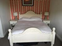 Painted double bed with mattress