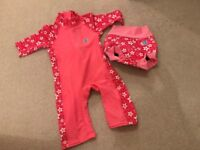 Splash About UV All in One Girls Wetsuit and Separate Happy Nappy Size 1-2 Years