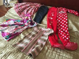 Girls dresses, sleepsuit and cropped denims age 3-4