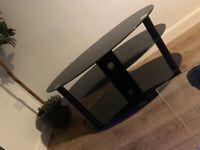 Smoked black glass tv stand