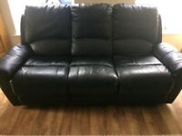 Black leather recliner suite 3 and 2 seater