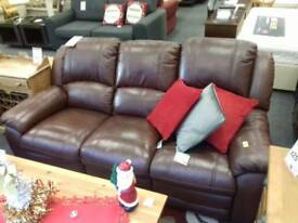 Brown leather recliner suite (3 seater and armchair)