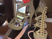 Lipsy nude/gold size 6 sandals never worn