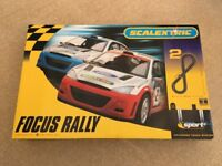 Scalextric Focus Rally Set + extras: Lap counter/timer, Goodyear bridge, Grandstand