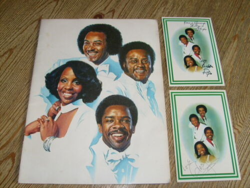 Gladys Knight & the Pips Concert Tour Program 1977 with 2 SIGNED Postcards