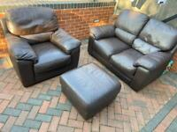 Brown leather 2 seater sofa with arm chair and footstool*can deliver