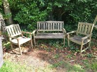2 chairs and bench