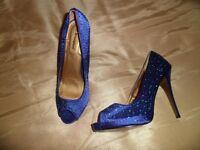 NEW Atmosphere blue diamonte encrusted peep toe shoe size 6
