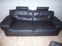 3+2 Brown Italian Sofas With Headrests