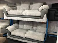 NEW / Ex Display DFS Grey Cord 3 Seater Sofa + Cord Sofabed