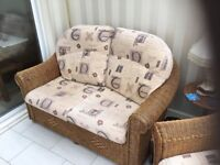 Quality wicker 2 seater sofa and chair