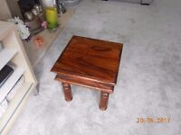 """small wooden solid table 16"""" square"""