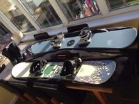 Snowboard bundle - Two snowboards, each with bindings and bag plus a pair of mens UK 9.5 boots