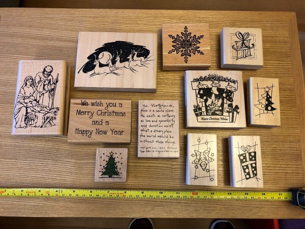 Christmas themed wood mounted rubber stamps for card making ...