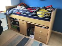 Mid sleeper bed with pull out desk, shelves for storage and drawers, £100 , buyer collect