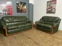 GREEN LEATHER SOFA SET 3+2 SEATER USED