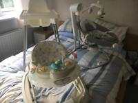 Baby swing chair joie, baby walker and high chair