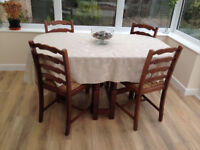 Dining table (foldable) and 4 chairs