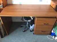 Desk and filing cabinet unit