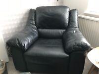 black leather armchair for sale, ex Collingwood Batchellor. Excellent condition