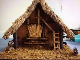 Wooden Stable for nativity scene
