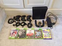 Xbox 360 250gb with 4 Controllers and 5 Games