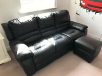 3-seater black leather reclining sofa & poof