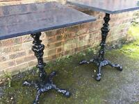 Cast iron and slate top tables