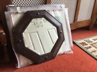 Arts and crafts style hexagonal mirror