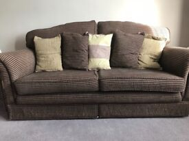 Bundle-Custom made Aubergine sofa 3 + 2.5 + 1 + footstool with 3 pictures and 3 side tables