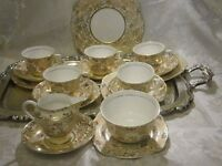 Colclough Bone China 18 Piece Tea Set With Floral Detail & a lot of gold