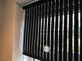Black opaque roller blinds x 2