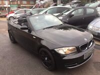 2008/58 BMW 1 SERIES 2.0 118i SE 2DR CONVERTIBLE, TRULY STUNNING WITH BLACK LEATHER BLACK+ FSH