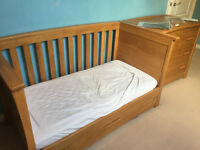 Mapas and Papas Ocean Solid Oak Cot bed, Baby Changer chest of drawers and toy chest. Paid £1410