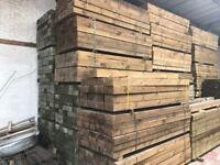 Wooden railway sleepers pressure treated