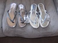 2 Pairs of Sparkly Flipflop/Toepost/Sandles ....Brand New with Tags.... SIZE 6
