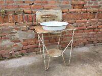 Vintage WASH STAND Metal Bowl Primitive Outdoor Cleaning Garden Decor Bird Bath