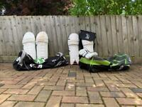 Cricket pads, cricket gloves, cricket bags