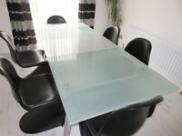 Contemporary extendable glass & metallic dining table