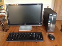 Great condition, second-hand Acer Aspire XC600 desktop computer with Hewlett Packard monitor